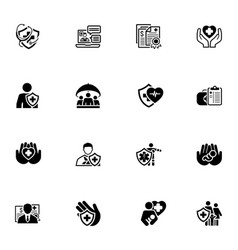 Insurance and medical services icons set vector