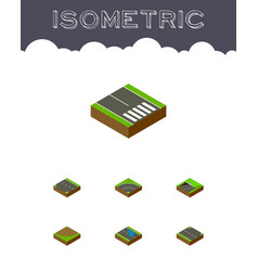 Isometric way set of plash subway turn and other vector