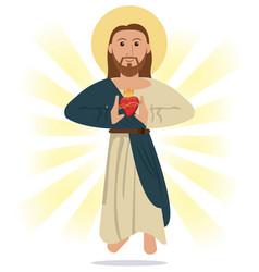 Jesus christ sacred heart religious symbol vector