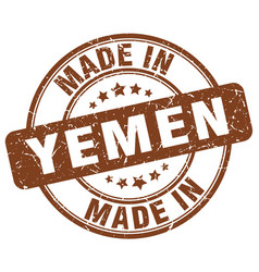 Made in yemen brown grunge round stamp vector