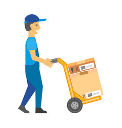 Man in overalls and cap pushes cart with box vector