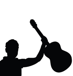 man musician with guitar black vector image vector image