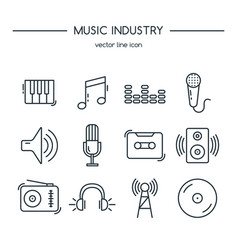 music industry icons line set vector image vector image