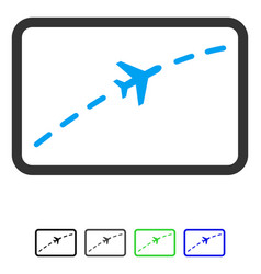 Plane route flat icon vector