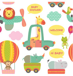 Seamless pattern with animals in transport vector
