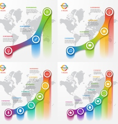 Set of line graph infographic templates vector