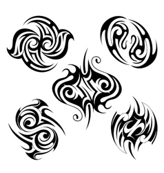 Set of various ethnic style tattoo shapes vector image vector image