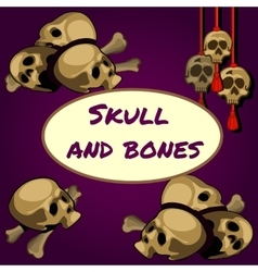 Skull and bones on a purple background vector image