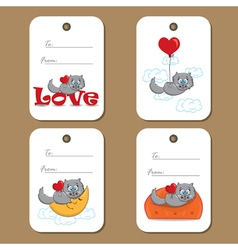 tags with cats and hearts vector image