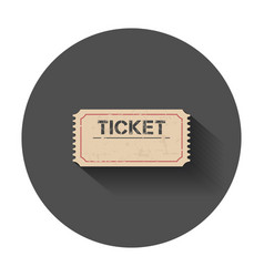 Ticket icon with long shadow vector