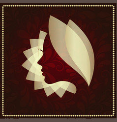 womans face in flower leaveslogo concept vector image