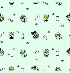 Zombie head cartoon cute couple seamless pattern vector