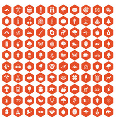 100 camping and nature icons hexagon orange vector