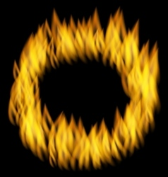 Fire flame in circular frame isolated on black vector