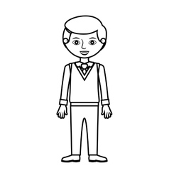 Guy silhouette with formal suit and tie vector