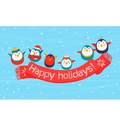 Christmas birds holding a scarf with the happy vector