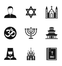 Religious faith icons set simple style vector