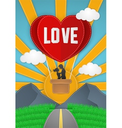 Happy valentines day couple flying on balloon vector
