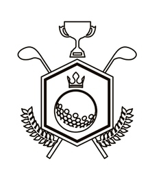 black contour emblem with olive branchs with crown vector image