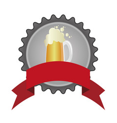 Circular color emblem of glass with beer and vector