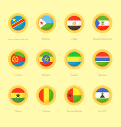 Circular flags of democratic republic of the vector