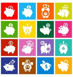 Piggy bank set white icons on colored squares vector