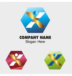 People sign with hexagon icon vector