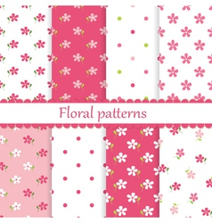 Set of flower seamless patterns vector