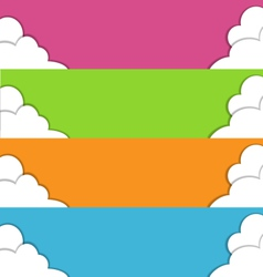 Four multicolored spring banners with clouds vector