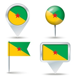 Map pins with flag of french guiana vector