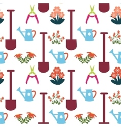 Pattern with gardening equipment vector