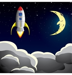 Rocket spaceship in sky vector