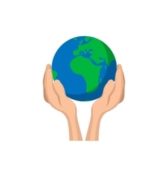 Hands holding globe cartoon icon vector