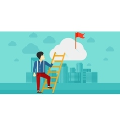 Man climbing the ladder vector
