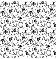 Abstract flowers black seamless background vector