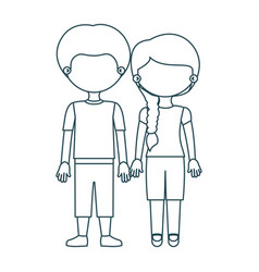 Blue contour faceless couple girl with side braid vector