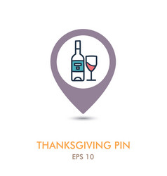 Bottle of wine and glass mapping pin icon vector