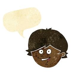cartoon happy boy face with speech bubble vector image vector image