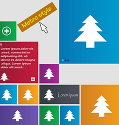 Christmas tree icon sign metro style buttons vector