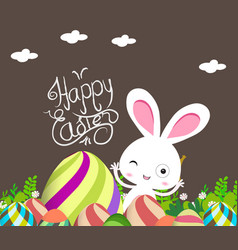 cute bunny easter eggs vector image vector image