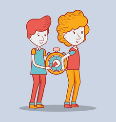Delivery men with pocket clock in the hands vector