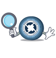 Detective 0x coin character cartoon vector