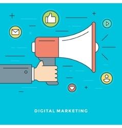 Flat line digital marketing concept vector
