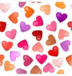 Glossy heart seamless pattern on white background vector