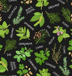 Herbs and spices seamless pattern on black vector