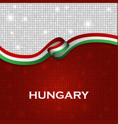 Hungary flag ribbon shiny particle style vector