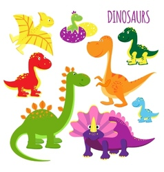 Icons of baby dinosaurs vector