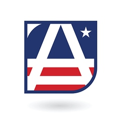Letter a logo emblem in american flag style vector