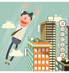 Man flies up with success cartoon vector