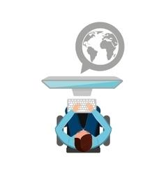 man working computer globe media design vector image vector image